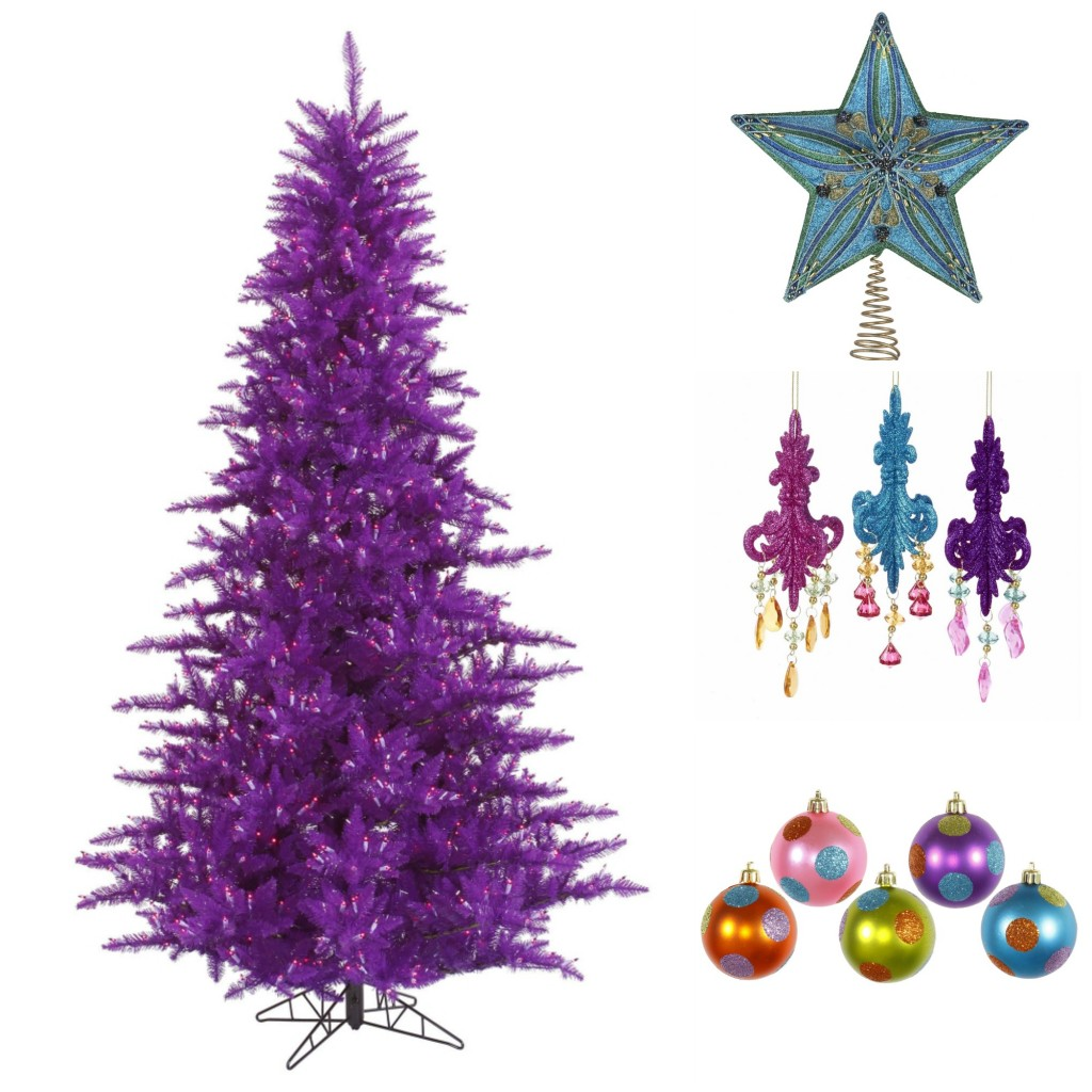 Purple Christmas Tree with Multi Colored Decorations