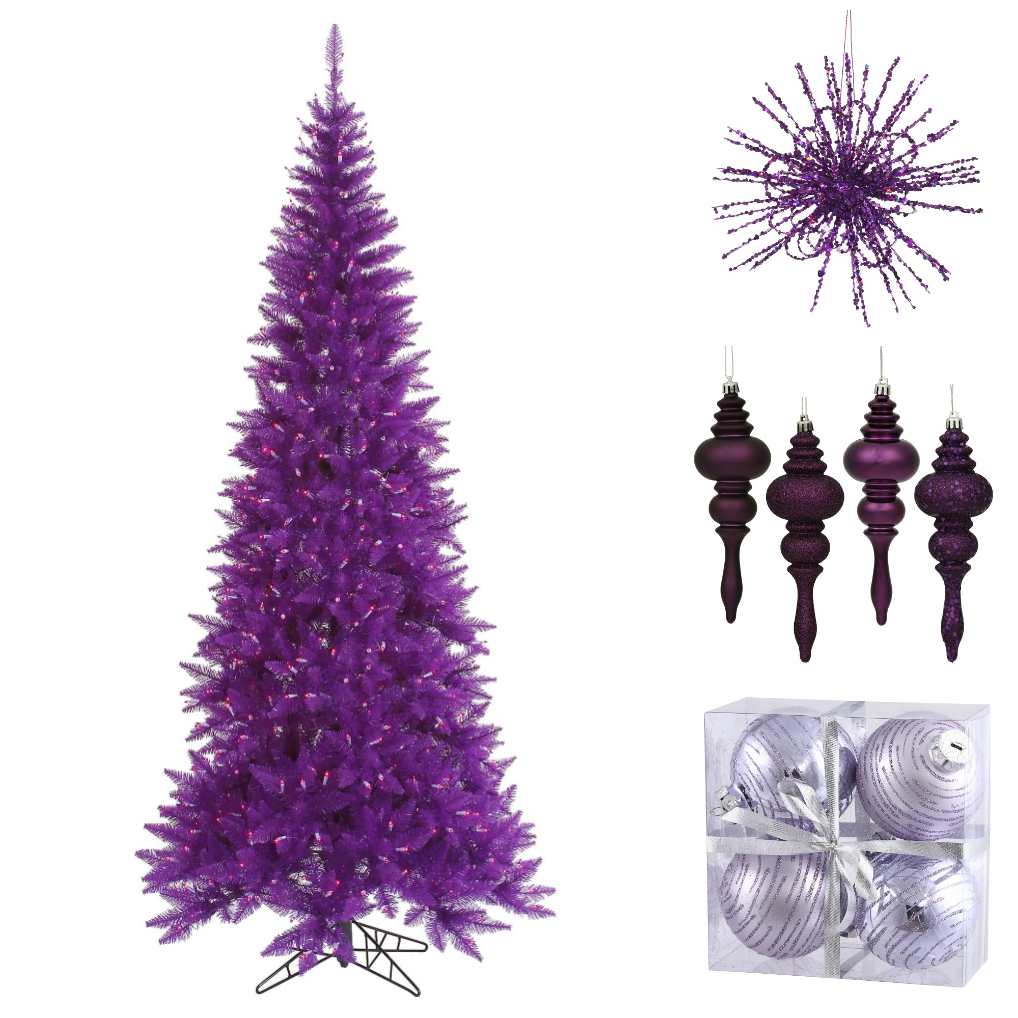 purple christmas tree with purple decor - Purple Christmas Decorations