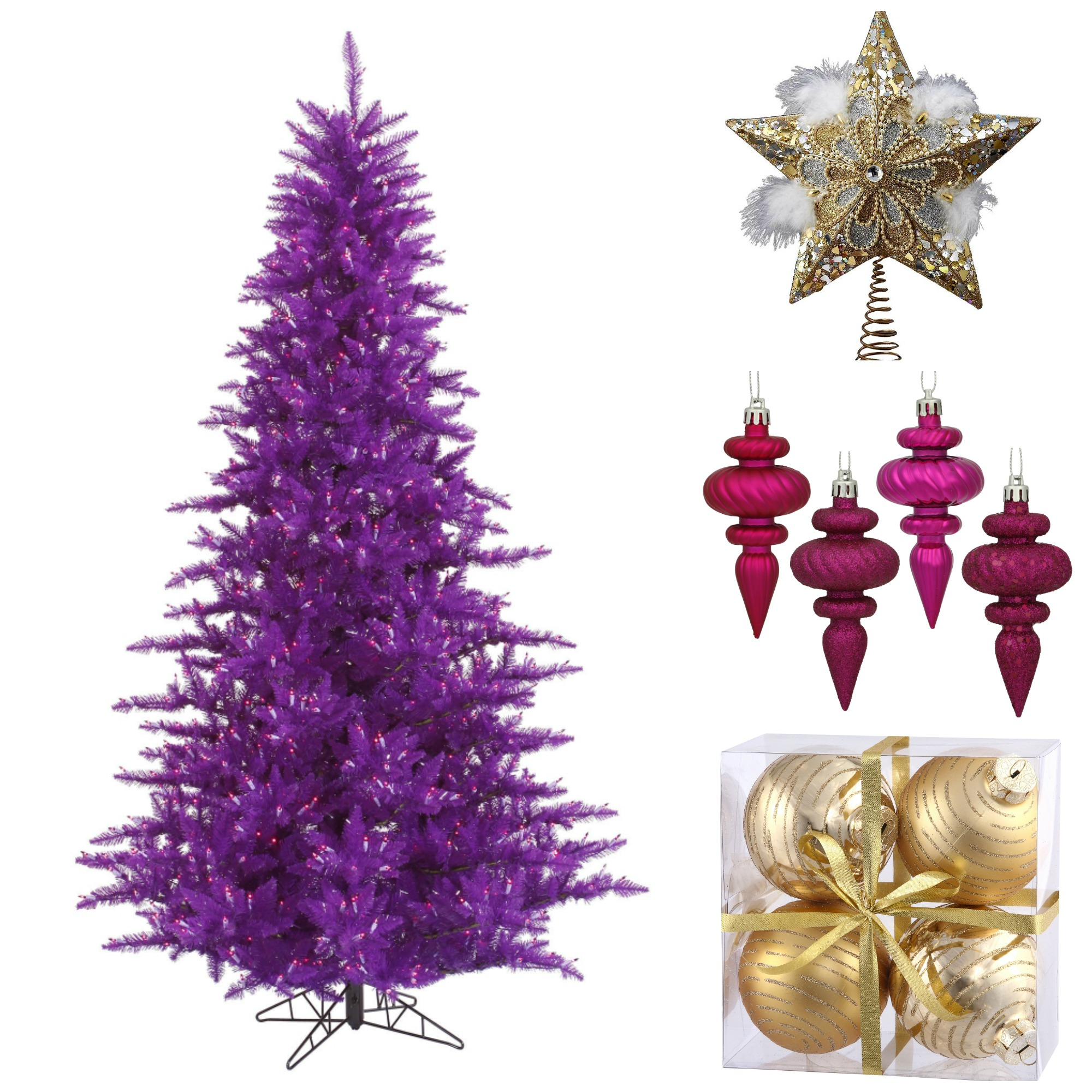 purple christmas tree with warm decorations
