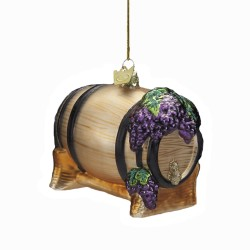 "4"" Noble Gems Glass Wine Barrel Ornament"