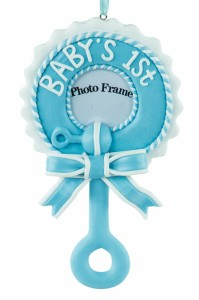 Blue Baby's 1st Christmas Frame Ornament