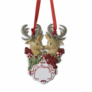 Our First Christmas Reindeer Pair Disc Ornament