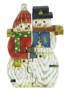 Snowman Couple Puzzle Figurines