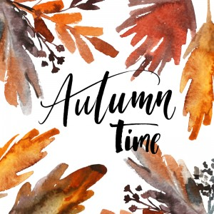 Autumn time phrase. Hand drawn watercolor leaves. Orange and red colors. Ink illustration. Modern brush calligraphy. Isolated on white background.