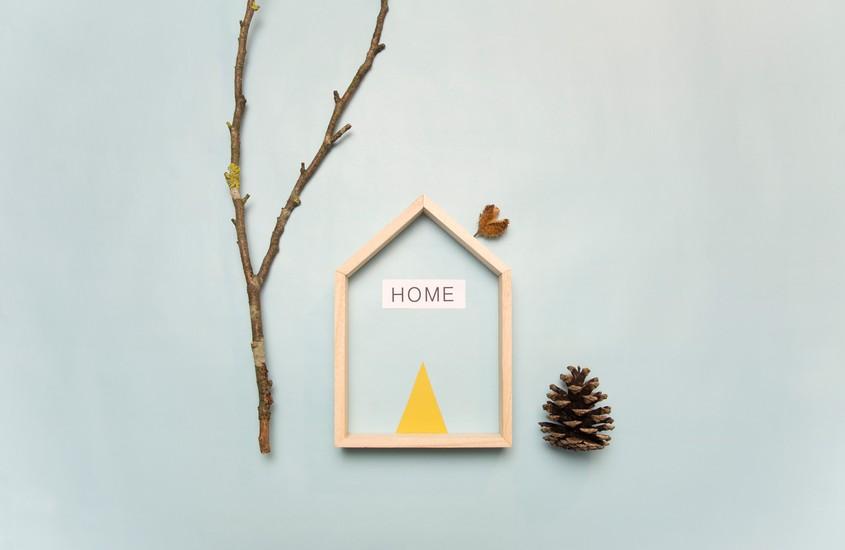 Composition constituée d'une maison , d'une branche et d'une pomme de pin